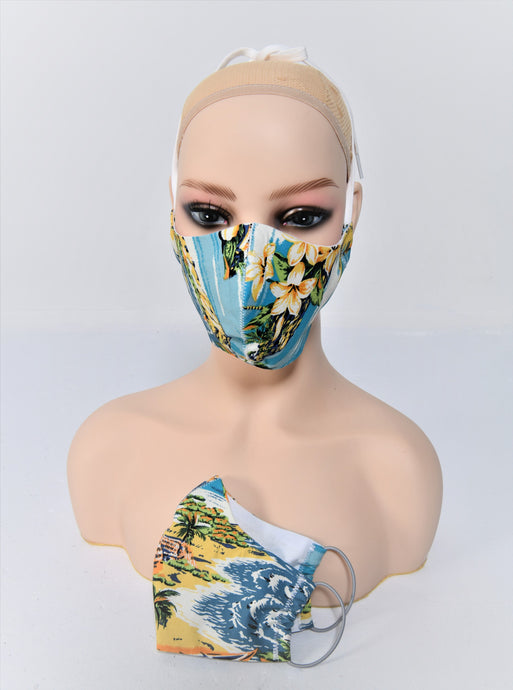 Retro Fabric Face Mask, Blue Hawaii