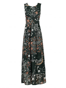 Printed Chiffon Maxi Dress