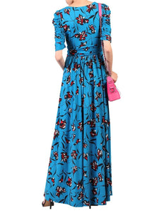 Floral Print Ruched Sleeve Maxi Dress