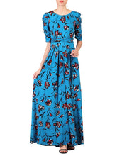 Load image into Gallery viewer, Floral Print Ruched Sleeve Maxi Dress