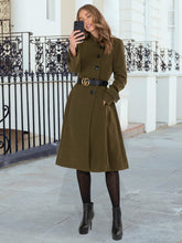 Load image into Gallery viewer, Button Front Flared Coat, Soldier Green