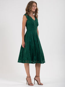 V-Neck Lace Fit And Flare Bridesmaid Dress