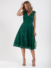 Load image into Gallery viewer, V-Neck Lace Fit And Flare Bridesmaid Dress