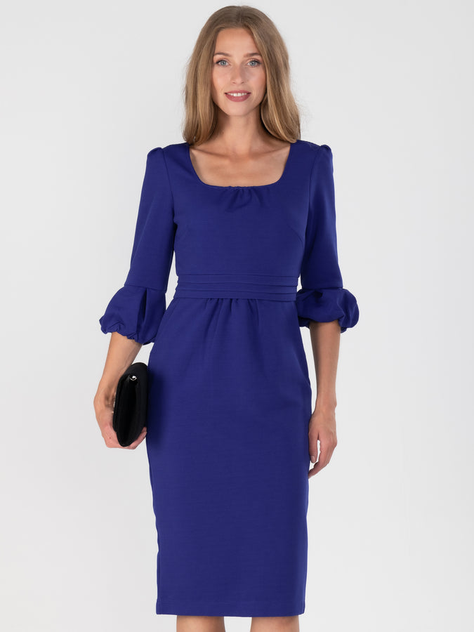 Bell Sleeve Boat Neck Pencil Dress