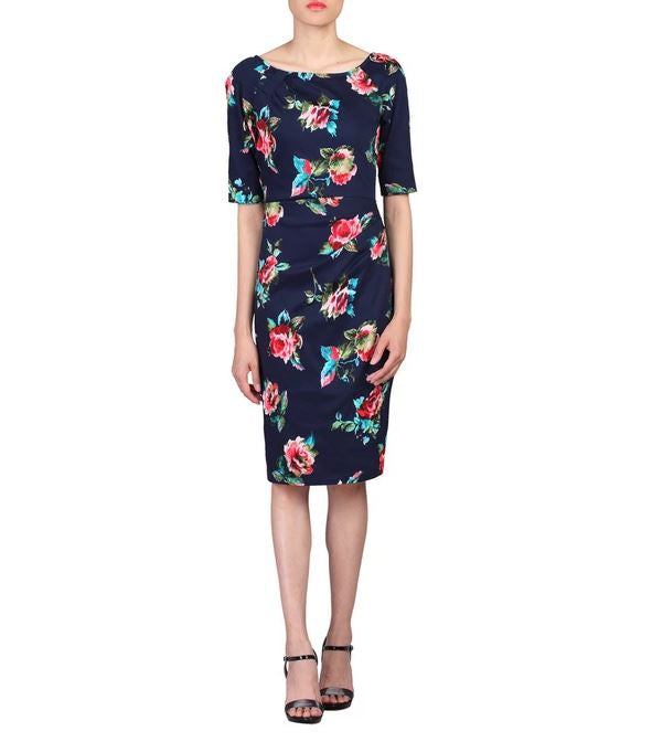 1/2 Sleeve Floral Print Dress, Navy Floral