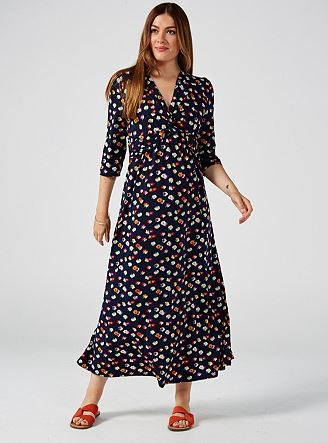 Long Sleeve Twist Front Maxi Dress, Floral Multi