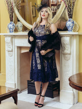 Load image into Gallery viewer, Jolie Moi Contrast Lace Dress, Navy