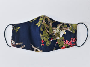 Cotton Face Mask With Filter Pocket, Navy Tropical