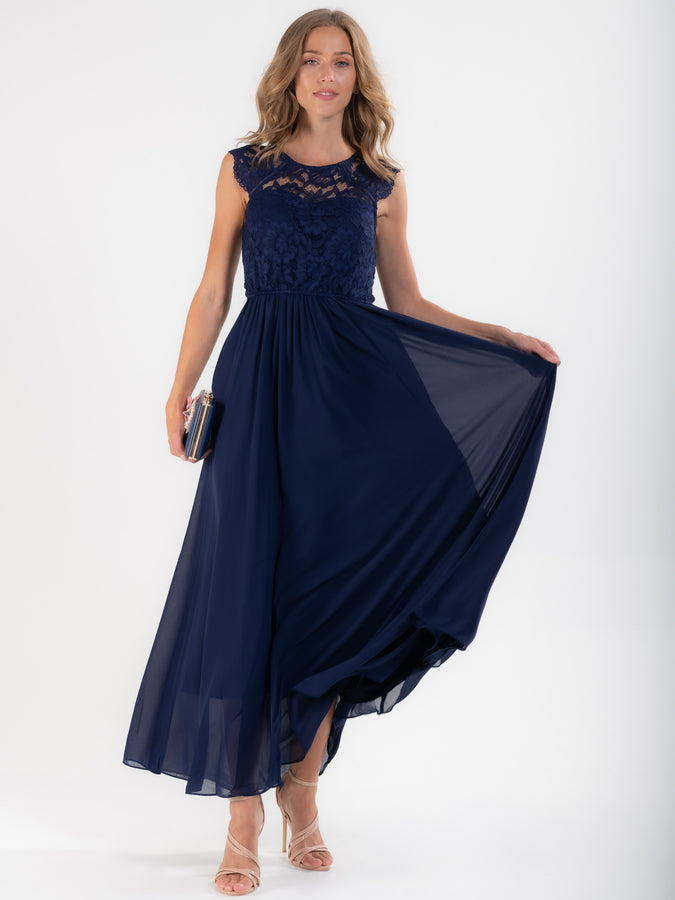 Cap Sleeve Lace Maxi Dress, Navy
