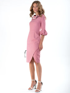Trim Detail Rolled Collar 60`s Dress, Dusty Pink