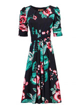 Load image into Gallery viewer, Print Half Sleeve Midi Viscose Dress