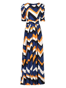 Jolie Moi Geometric Print Ruched Sleeve Maxi Dress, Blue Wave