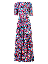 Load image into Gallery viewer, Jolie Moi Geometric Diamond Print Ruched Sleeve Maxi Dress, Pink/Multi