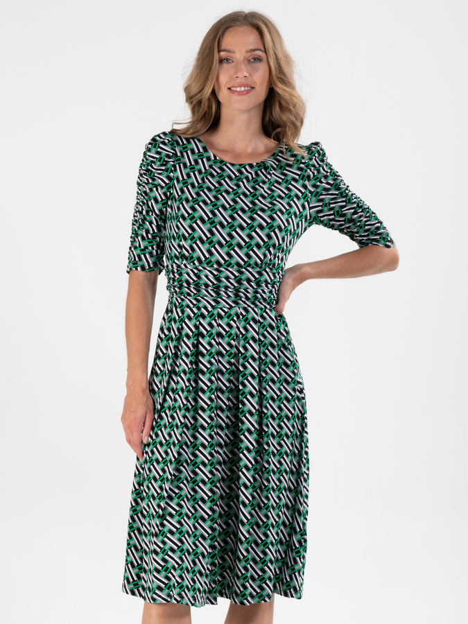 Puff Sleeve Printed Viscose Dress, Green Geo