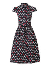 Load image into Gallery viewer, Jolie Moi Lip Print Shirt Dress, Black pattern