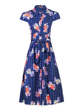 Load image into Gallery viewer, Jolie Moi Floral Spot Print Shirt Dress, Navy