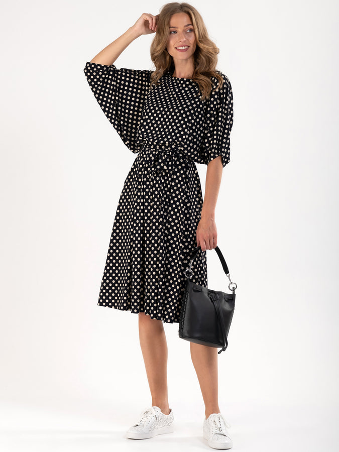 PRE-ORDER Batwing Spotty Jersey Dress, Black Spot