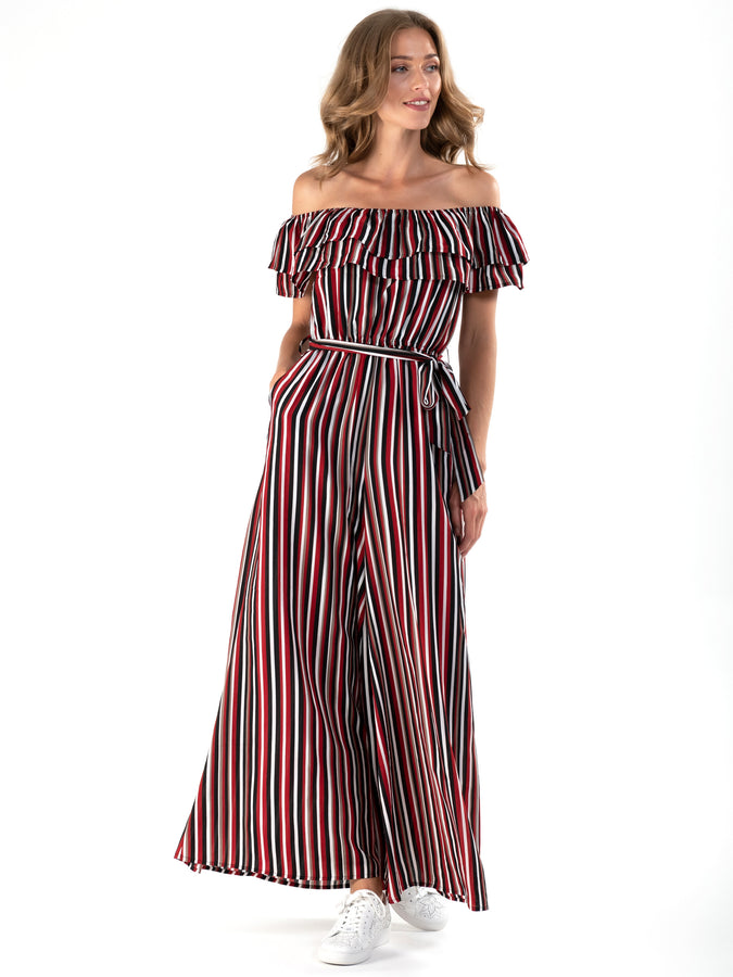 PRE-ORDER Ruffle Off Shoulder Jumpsuit, Red Stripe
