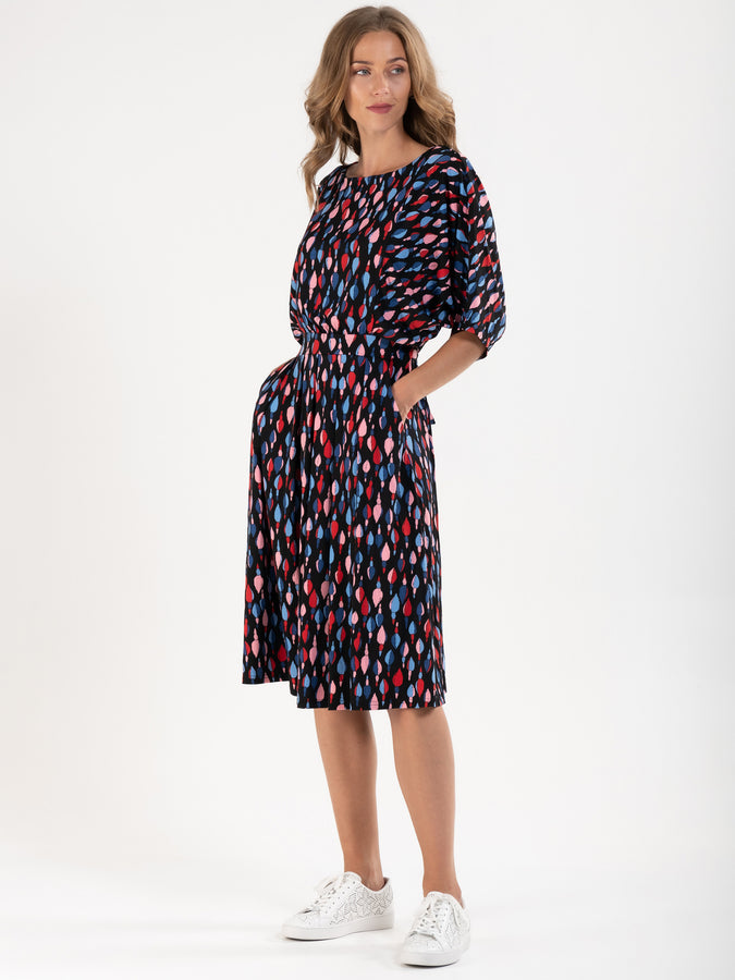 PRE-ORDER Batwing Spotty Jersey Dress , Multi
