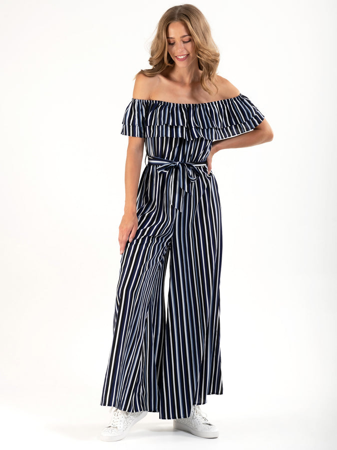 PRE-ORDER Ruffle Off Shoulder Jumpsuit, Navy Stripe