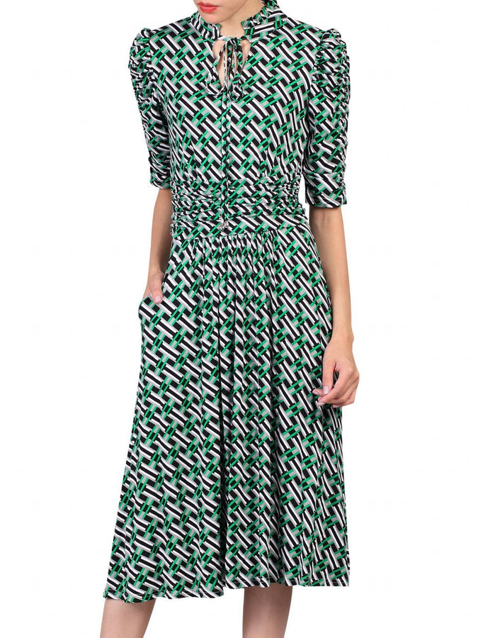 Jolie Moi Geometric Print Tie Collar Dress, Green Pattern