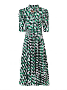 Printed Tie Collar Dress
