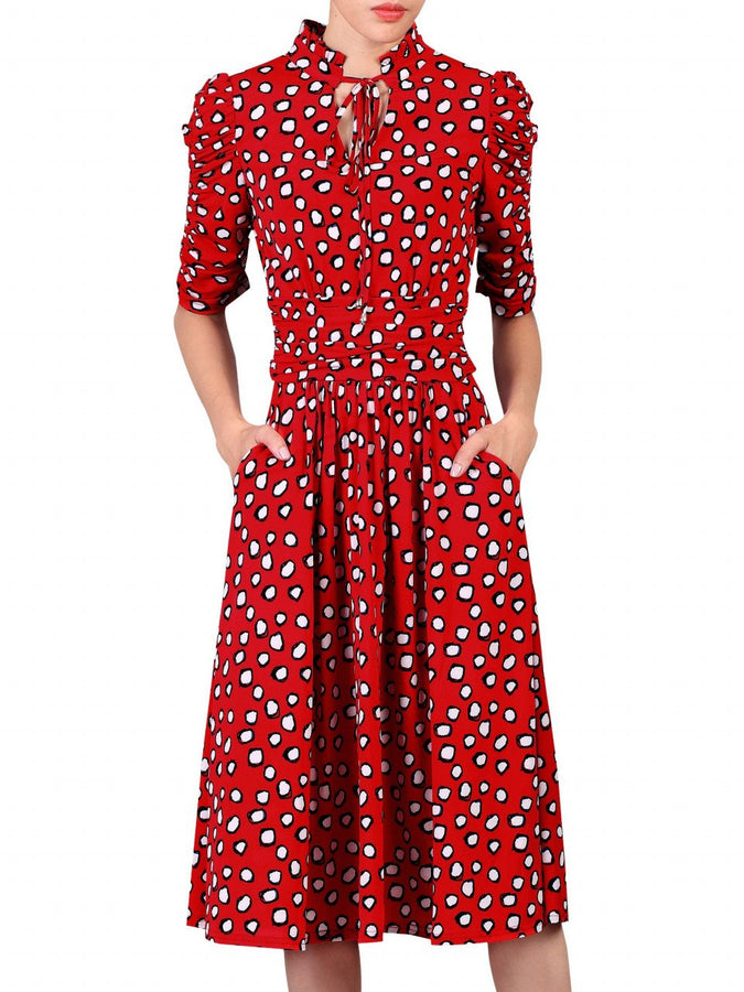 Jolie Moi Flared Tie Collar Dress, Red Pattern