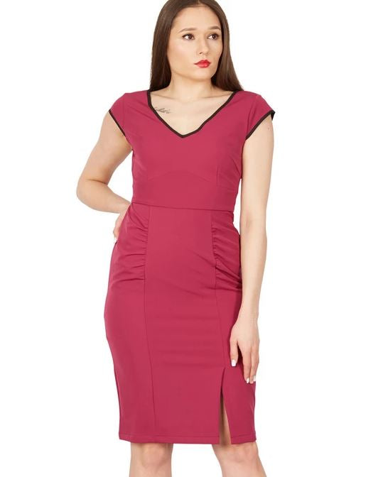 Trimmed V Neck Cap Sleeve Bodycon Dress, Berry