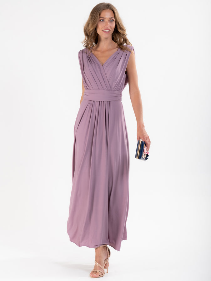 Plunge Neck Draped Jersey Maxi Dress