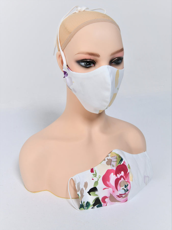 Fabric Face Mask With Filter Pocket, White Floral