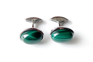 Malachite cuff links