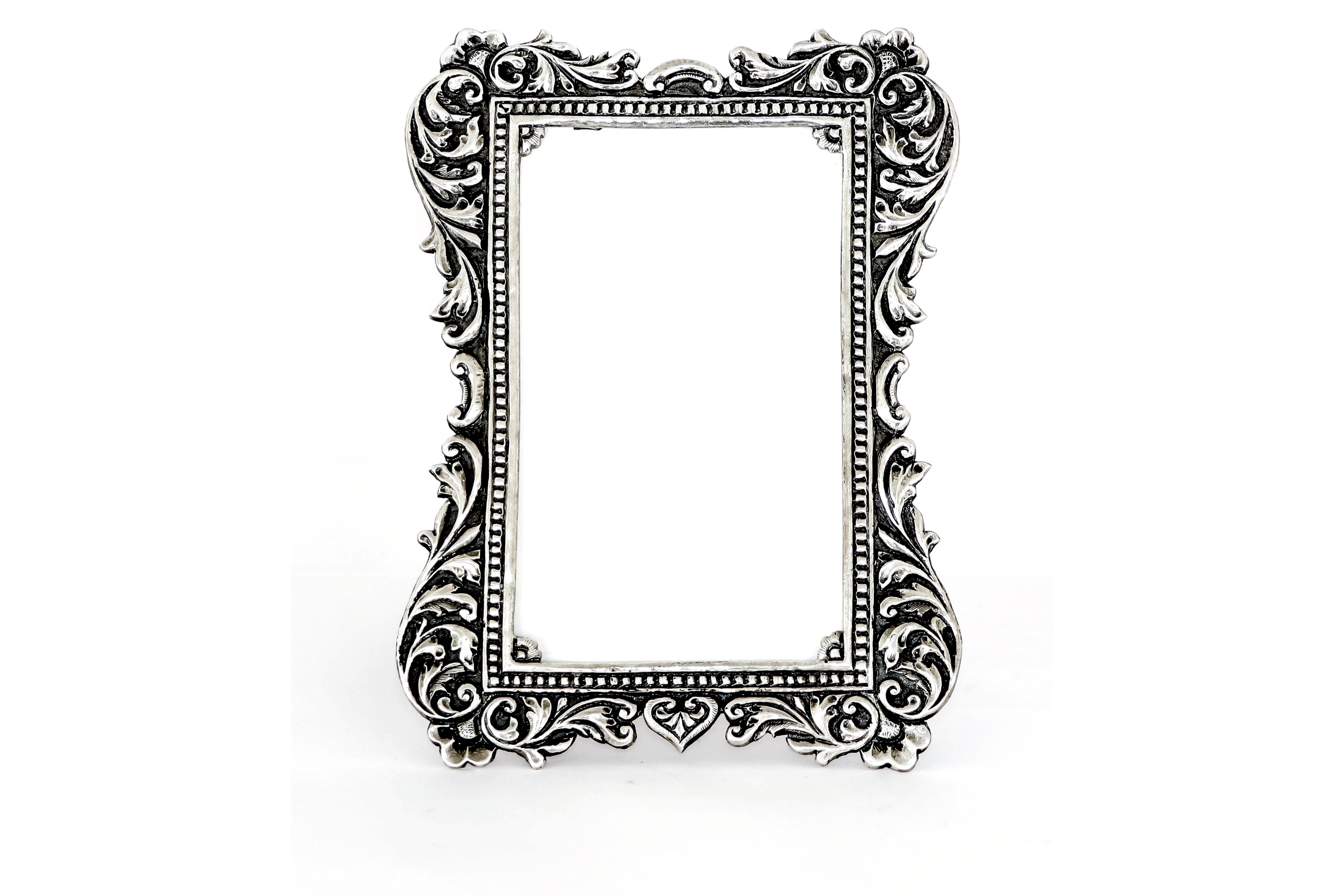 Antique silver frame with floral embossed design 3