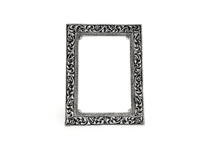 Antique silver frame with floral embossed design 1