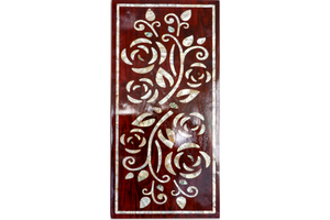 Mother  of pearl inlay work on teak wooden panel 1