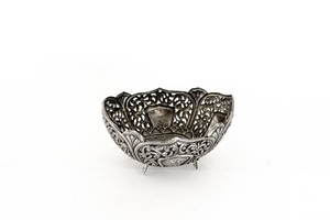Hand crafted silver bowl with cutting work