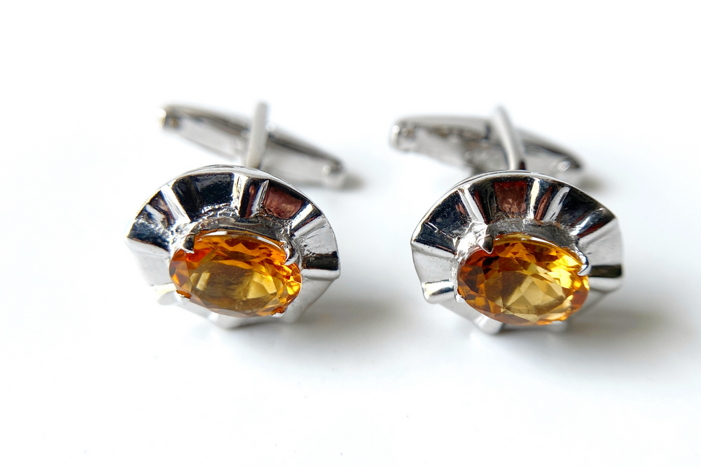 Golden topaz cuff links