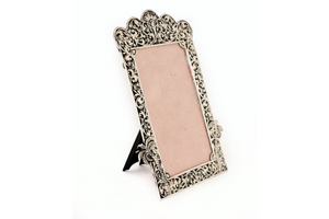 Antique silver frame with floral embossed design 5