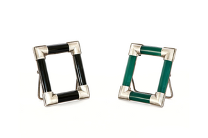Black onyx and green onyx (pair)