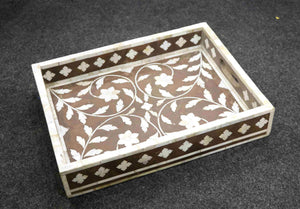Wooden tray with over lay work 3