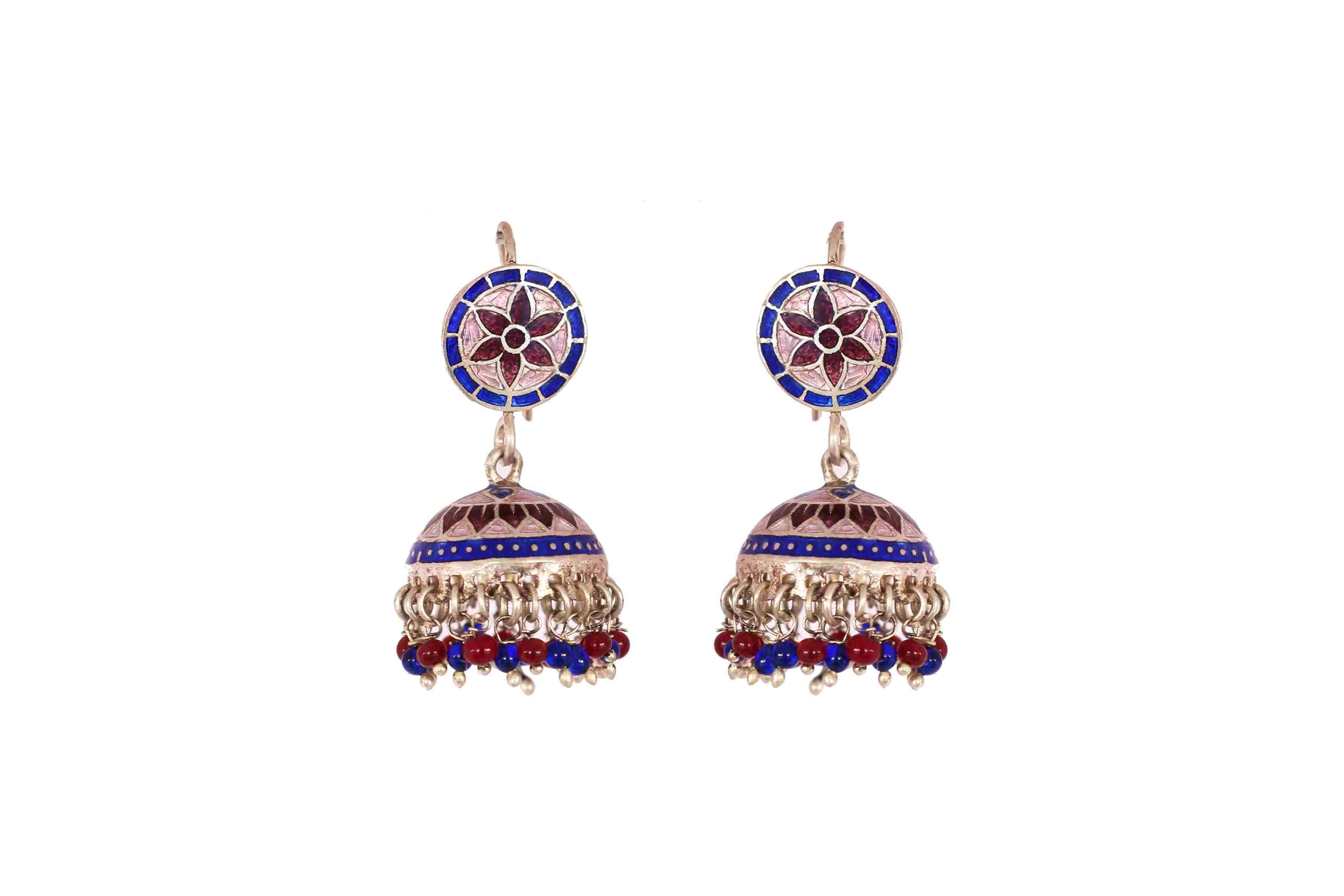 Floral enamel work jhumki blue and red