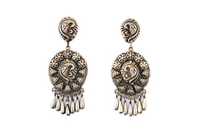 Peacock embossed earring