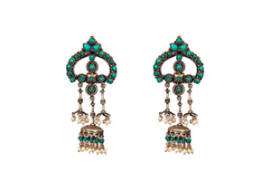Turquoise stone traditional danglers