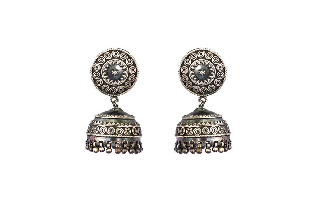 Rava work oxidised jhumki 1