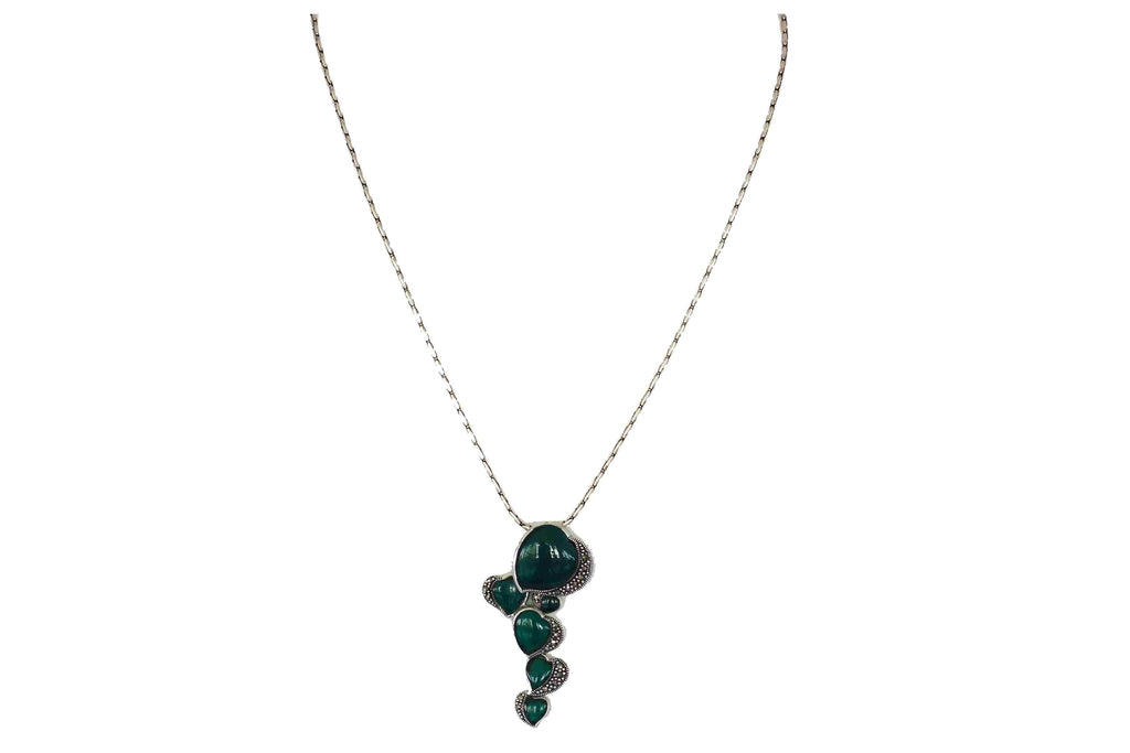 Green onyx pendant with marcasite design 1