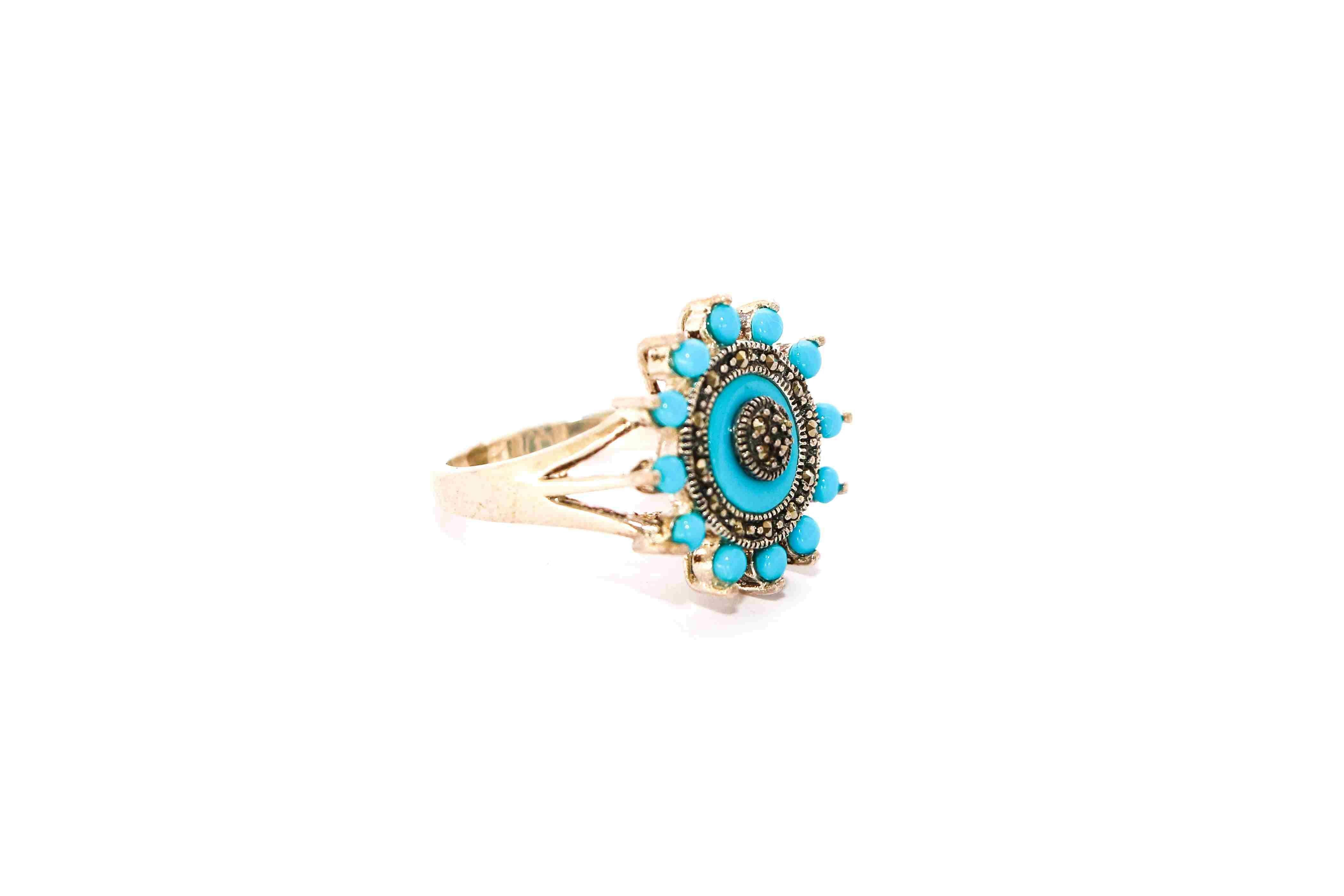 Turquoise ring with marcasite