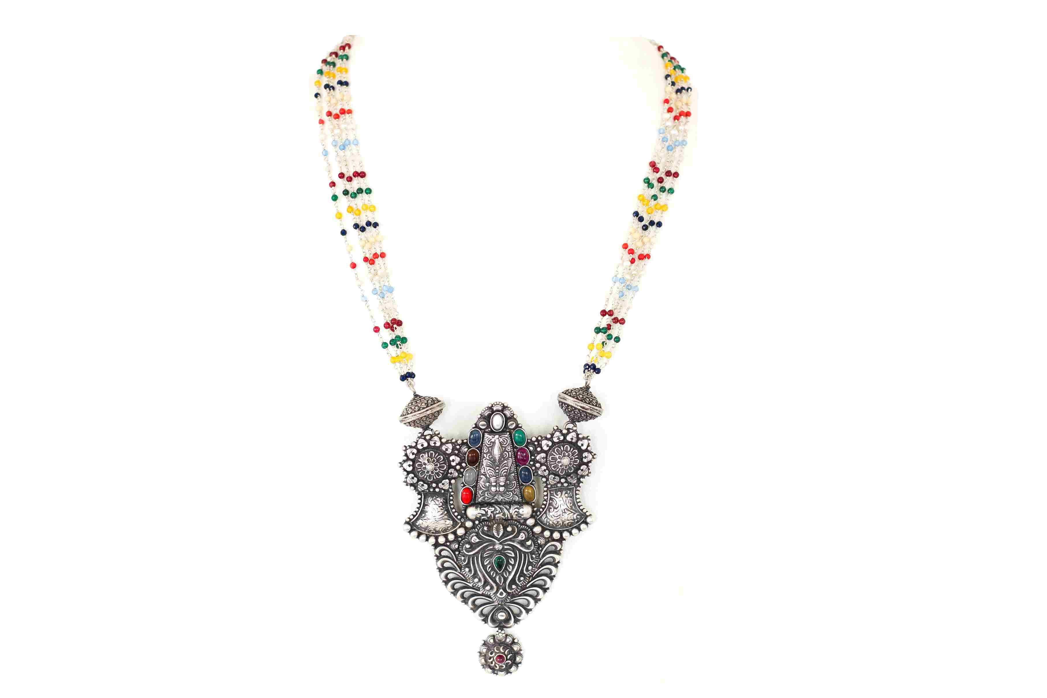Traditional designer necklace with filigiri work and multicolor stones