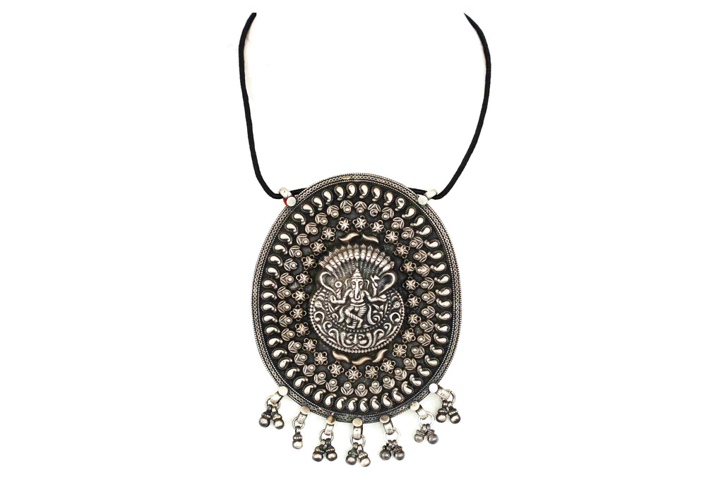 Solid silver pendant with rava work, ganesha design