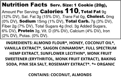 Snickerdoodle Nutritional Label