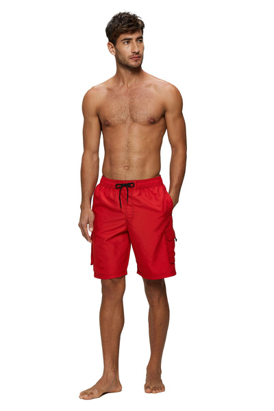 Red Solids String Swim Shorts