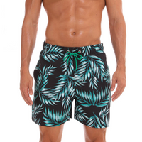 The Aqua Leaves Draw String Swim Shorts
